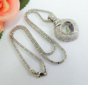 18K WHITE GOLD DIAMOND PAVE FLOATING CHARM HEART PENDANT NECKLACE WITH APPRAISAL