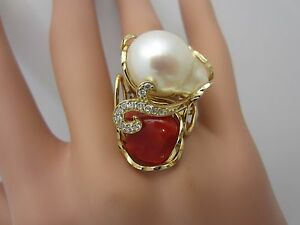 Sterling silver gold plated pearl red coral CZ ring