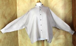 Eskandar Elegant Oversized Mandarin Natural Linen Oversized Boxy Shirt Top 0