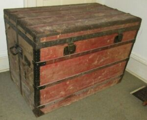 LOUIS VUITTON ANTIQUE STEAMER TRUNK EARLY EMBALLEUR LABEL C 1870 VERY LARGE 39quot; $2975.00