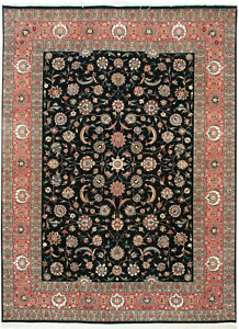 RRA 9x12 Pak Persian KermanKashan Allover Design Black Rug 30028
