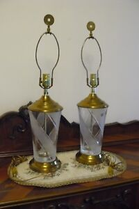 Beautiful pair of crystal lamps by GALENA 24% lead crystal Brass base Vintage