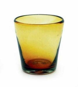 Set of 4, Handmade Mexican Amber Rocks Glasses, Recycled Glass-4 Inches H,12 oz.