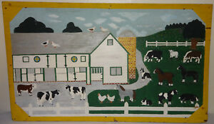 Antique Folk Art oil Painting on Wood of a Barnyard Scene Large Size $450.00