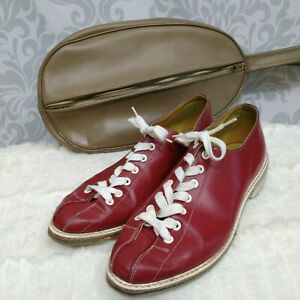 Vintage Eatons Truline Womens Bowling Shoes Size 6 Red Leather With Shoe Bag