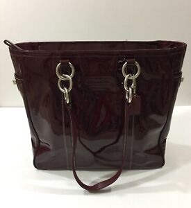 COACH Purse Patent Leather Large Shoulder Bag East West Gallery Tote Crimson Red