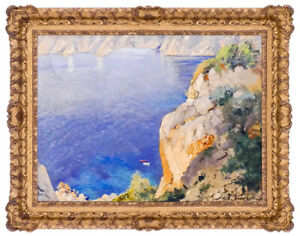 Cavalier Michele Frederico Original Oil Painting On Canvas Signed Seascape Art