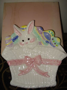 VTG EASTER BUNNY EGG BASKET EMBOSSED CERAMIC PLATE 9quot; N ORG TAGS BOX # 56004 $9.50