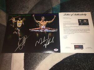 Usain Bolt & Michael Phelps Signed 11x14 Photo Fastest On Land & Water PSADNA