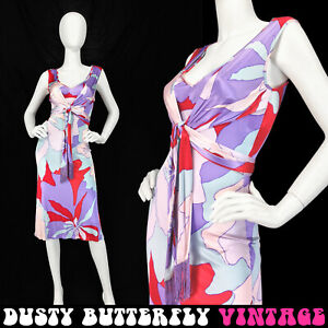 VTG ESCADA PSYCHEDELIC DRESS Designer BODYCON Sleeveless FRINGE Midi XS S 36