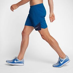 Nike DISTANCE MEN'S 7 RUNNING SHORTS Stretchy BLUE JAY Sz S 834213 429 $38.00