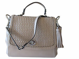 Coach Designer Park Woven Leather Flap Large Hand Shoulder Crossbody Bag Purse
