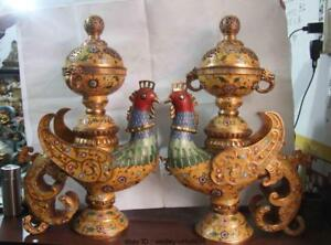 29 Palace Copper Bronze Cloisonne Phoenix birds Censer incense burner Vase Pair
