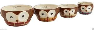 Last One CHILLY BILLY Owl Nesting Measuring Cup Set of 4 Plaid Scarf