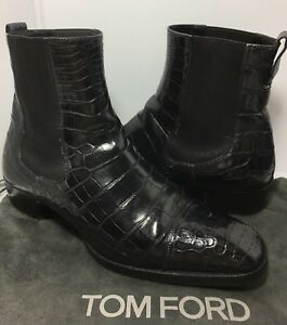 Tom Ford  Gianni Alligator Cap Toe  Chelsea Boots Mens Shoes Black  Sz 6 T