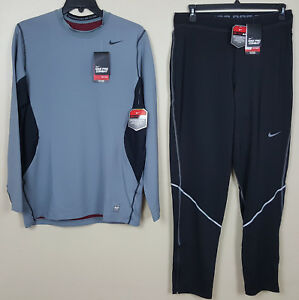 NIKE DRI-FIT MAX HYPERWARM TOP SHIRT + PANTS FITTED OUTFIT GREY BLACK (SIZE XL)