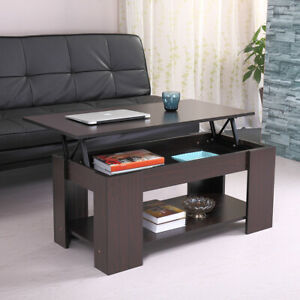 Modern Wood Lift Top Coffee Table W/ Storage Space Living Room Furniture Walnut