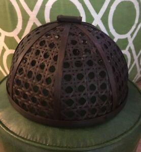 Large Domed Food Cover Rattan Cane BLACK Picnic