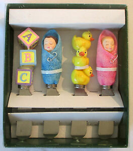 4 BABY Cheese Butter SPREADERS Shower Party Favor Gift NEW IN BOX set boy girl