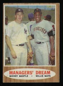 1962 Topps #18 Managers' Dream Mickey Mantle & Willie Mays FairGood