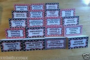 Mickey Mouse Clubhouse Food Party Labels Minnie Birthday Decor Baby Shower Cute