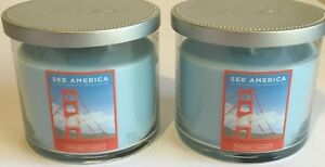 YANKEE CANDLE SEE AMERICA GOLDEN GATE CEDAR MUSK SOY WAX CANDLES 2 PIECE SET
