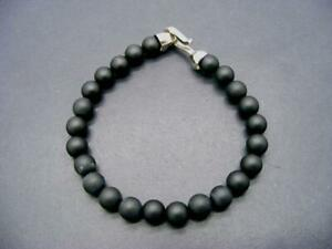 $50 Zack Mens Natural Black Stone Beaded Bracelet 8.5