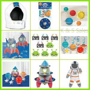 BLAST OFF Space Party Decorations Rocket Wall Table Masks Astronaut Helmet Stand