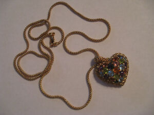 18K Gold Gemstone HEART Pendant PLUS 18K 24