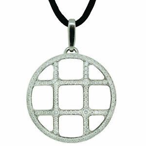 Cartier 18K White Gold Diamond 1.70cttw Pasha Grid Charm Cord Necklace 13in