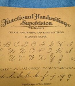 Antique 1940 'Functional Handwritting Supervision' Students Folder