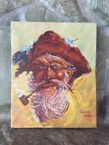 VINTAGE SIGNED ORIGINAL ART OIL ON CANVAS PAINTING GOLD MINER MOUNTAIN MAN