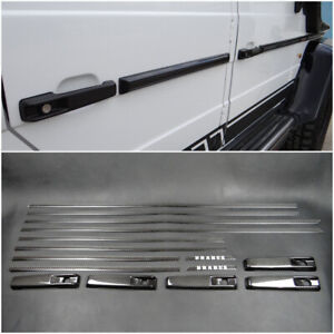 Mercedes G Wagon Class W463 side body exterior moldings door handles set carbon