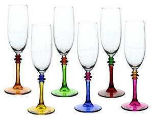 Crystal Multi-color Flute Champagne Glass 6-pc Set, Modern Style Glassware