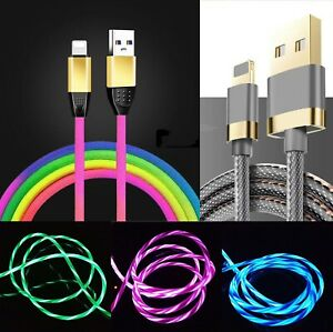 3 Feet LED Flashing Light-up Nylon Braided USB Charger Cable For iPhone 8 765 XR