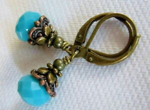 Small Vintage Drop Earrings Opaque Turquoise Blue Glass Antiqued Bronze Artisan $6.95