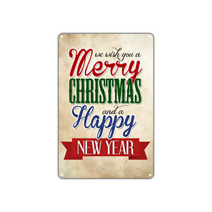 We wish you a Merry Christmas and Happy New Year Decor Vintage Retro Metal Sign