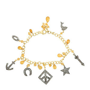 Pave 2.24ct Diamond Citrine Gemstone  925 Sterling Silver Charm Bracelet Jewelry