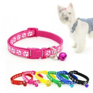 Pet Small Dog Cat Adjustable Paw Printed Puppy Safety Necklace Collar With Bell