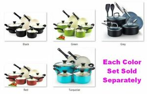 Cook N Home Nonstick Ceramic Coating 10pc Cookware Set with Tempered Glass Lids