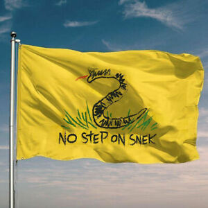 No Step On Snek Letter Flag Creative Funny 3x5 Feet Yellow Banner Flag Cloth A