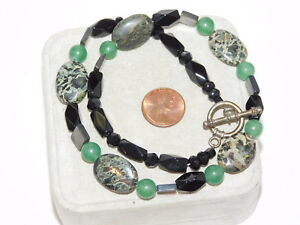 Black Jade Green color Serpentine Agate MOP bead 18 Necklace Toggle 6e 57 $26.99