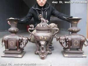 100% Pure Bronze Two Elephant Zun with Foo Dog Lion incense burner Censer Set