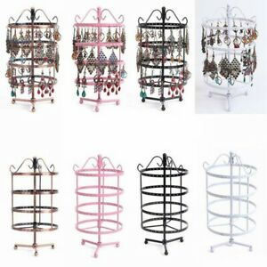 US 144 Holes Rotating Earring Ring Display Jewelry Rack Holder Metal Stand HO