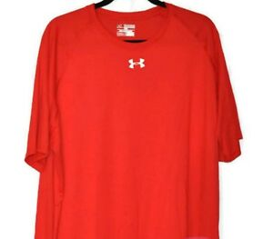 Under Armour Heat Gear Shirt 2XL Mens Red Loose Fit Active Athletic Top