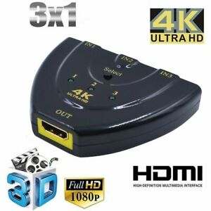 3D 3 Port Switcher HDMI Switch Converter 3 In 1 Out For DVD HDTV Xbox PS3 PS4