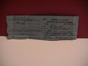 KENTUCKY DIVISION OF GAME amp; FISH 1951 RESIDENT STATEWIDE FISHING PAPER LICENSE
