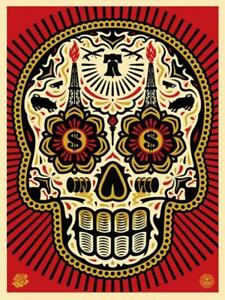 Shepard Fairey POWER & GLORY DAY OF THE DEAD SKULL RED Serigraph hand signedno
