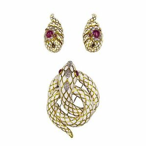 David Webb Platinum 18K White Gold Diamond Ruby Enamel Brooch Earrings Set