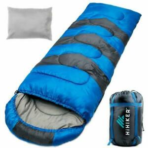 Camping Sleeping Bag Travel Pillow W Compact Compression Sack 4 Season For New